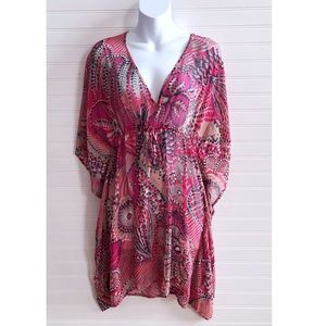 Tommy Bahama pink drawstring cover up tunic Sz. L
